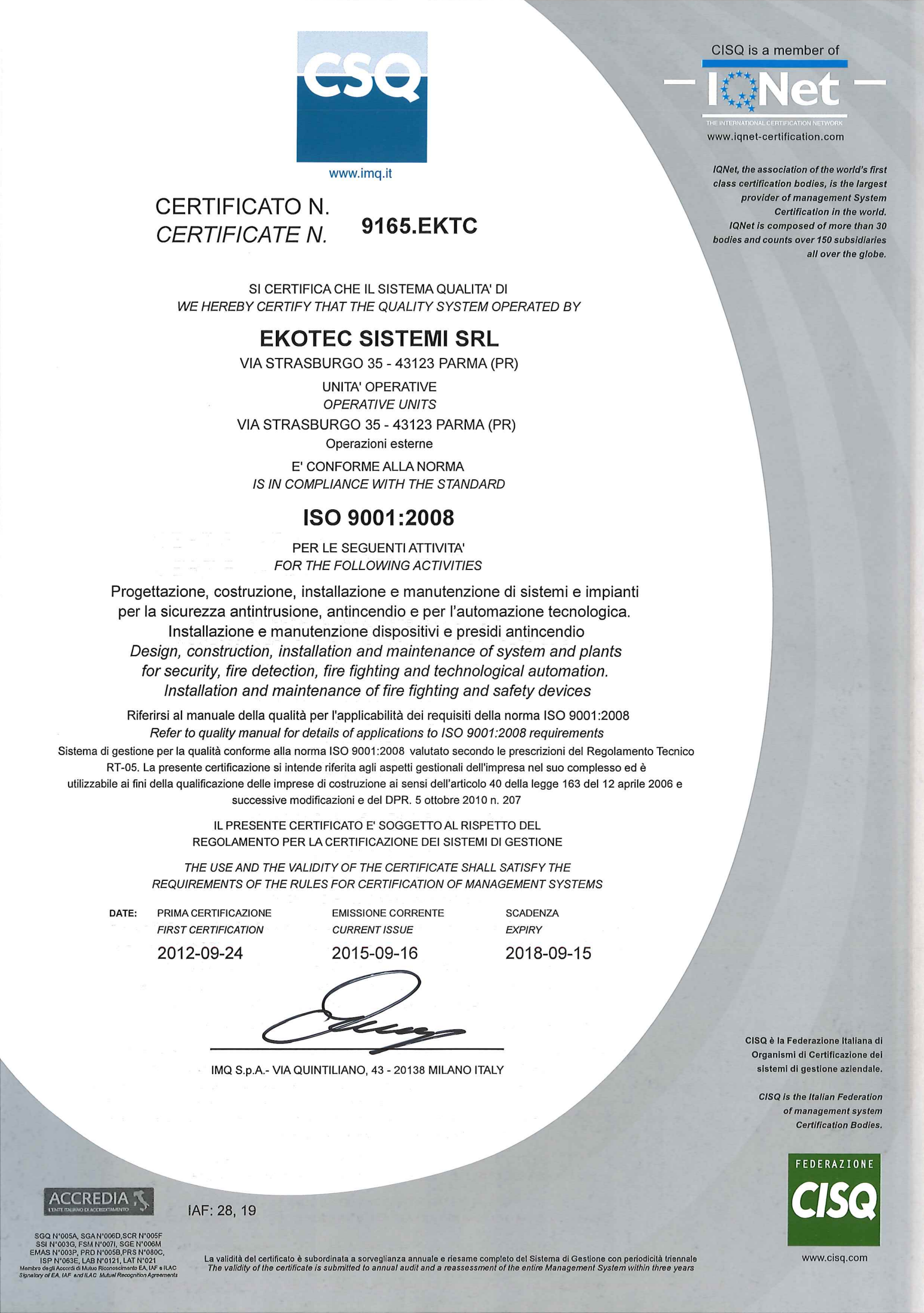Certificazione Sistema Qualità Ekotec ISO9001:2008