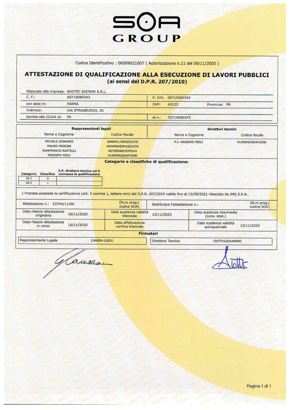 Certificazioni Ekotec
