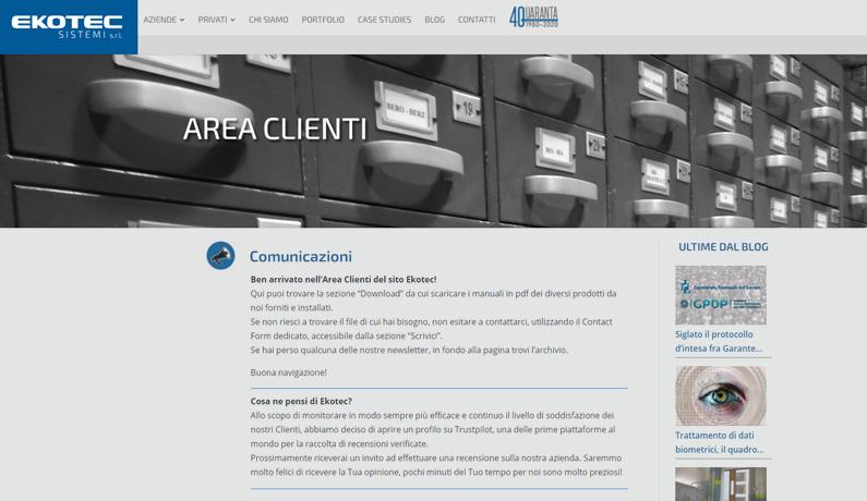 E' online la nuova Area Clienti Ekotec